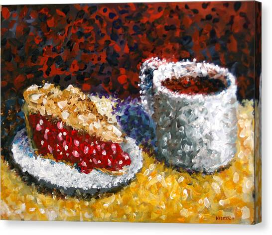 Mark Webster - Impressionist Cherry Pie With Coffee Acrylic Still Life Painting Canvas Print