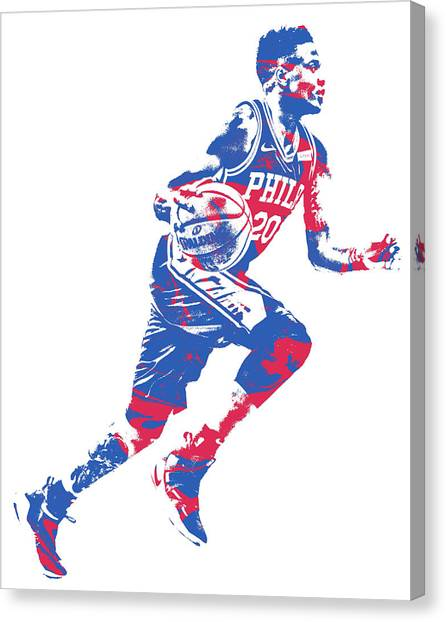 Philadelphia Sixers Canvas Print - Markelle Fultz Philadelphia 76ers Pixel Art 1 by Joe Hamilton