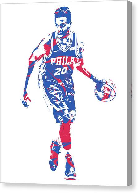 Philadelphia Sixers Canvas Print - Markelle Fultz Philadelphia 76ers Pixel Art 3 by Joe Hamilton