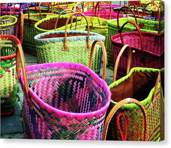 Canvas Print featuring the photograph Market Baskets - Libourne by Rick Locke