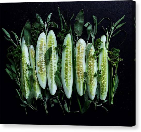 Market Cucumbers Canvas Print