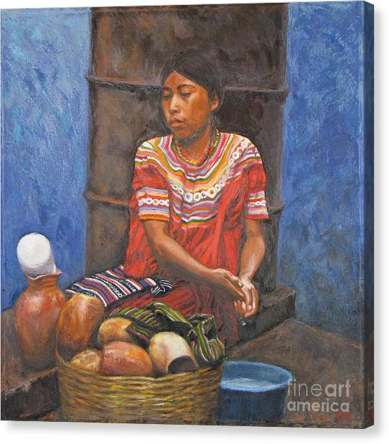 Market Girl Selling Atole Canvas Print by Judith Zur