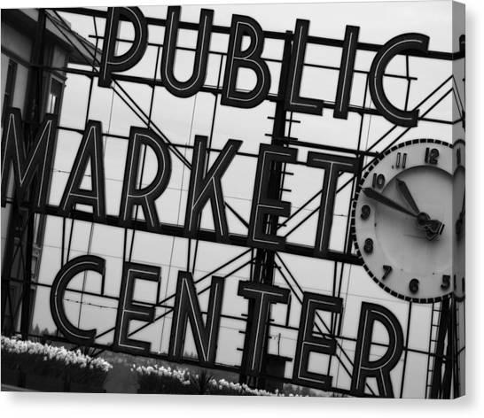 Seattle Canvas Print - Market by John Gusky