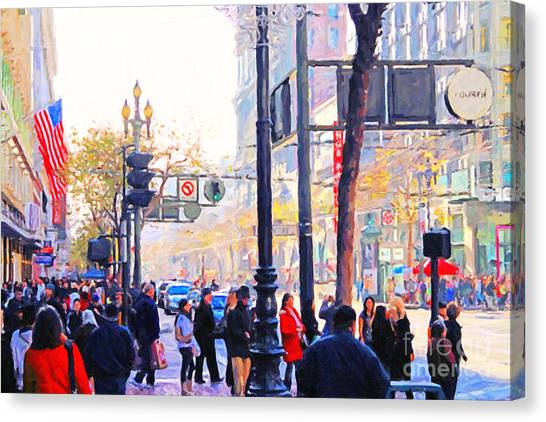Market Street - Photo Artwork Canvas Print by Wingsdomain Art and Photography