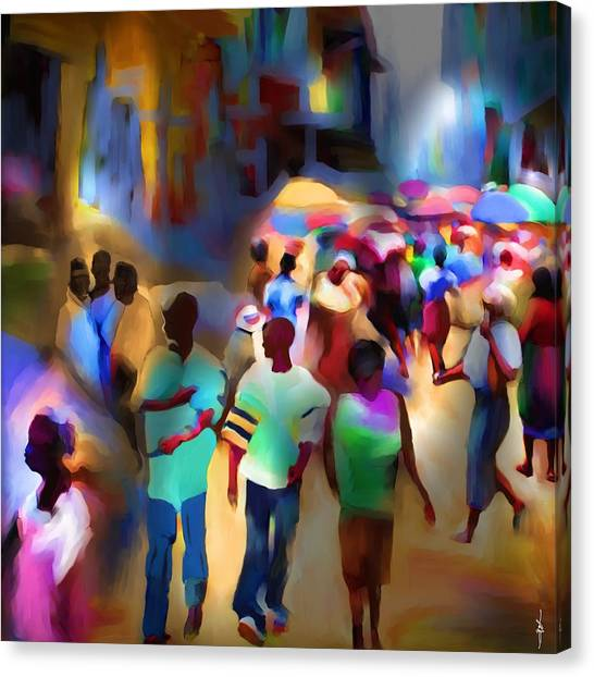 Marketplace At Night Cap Haitien Canvas Print