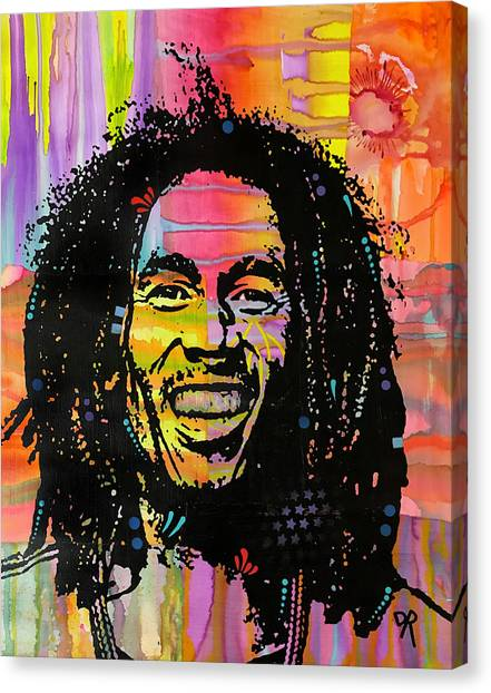 Bob Marley Canvas Print - Marley Hit Me With Music by Dean Russo Art