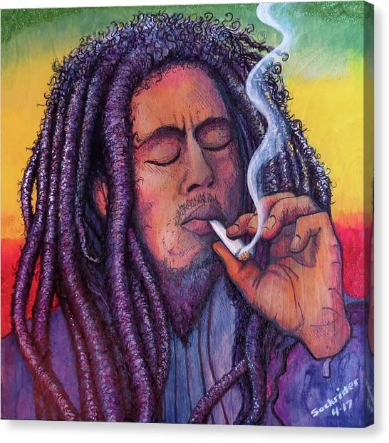 Marley Smoking Canvas Print by David Sockrider
