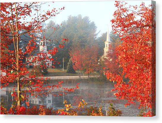 Marlow Canvas Print - Marlow New Hampshire Early Autumn Fog by John Burk