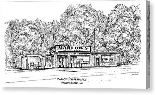 Georgetown University Canvas Print - Marlows Market by Greg Joens