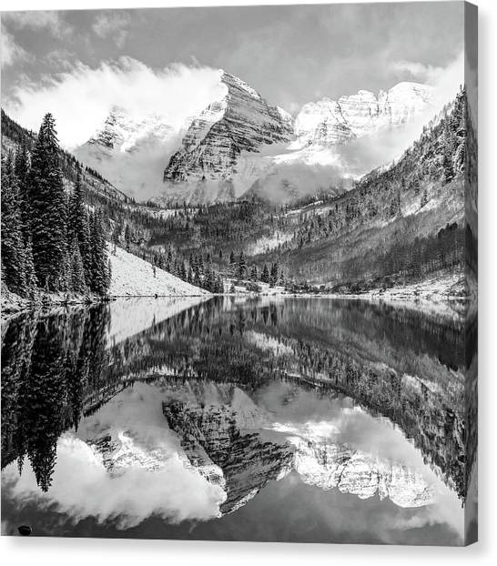 Maroon Bells - Aspen Colorado - Monochrome - American Southwest 1x1 Canvas Print