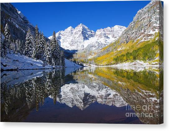 Maroon Lake And Bells 1 Canvas Print