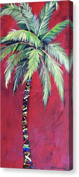 Maroon Palm Tree Canvas Print