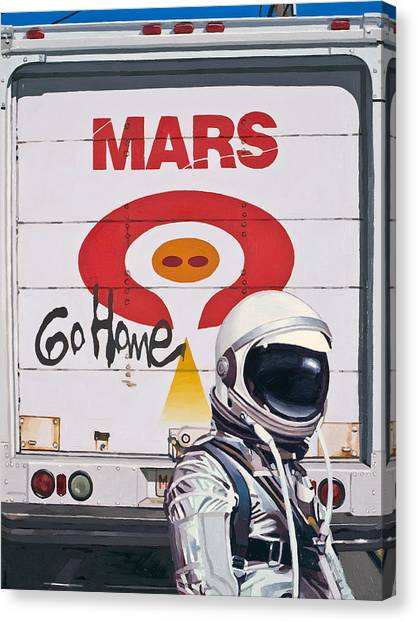 Astronauts Canvas Print - Mars Go Home by Scott Listfield