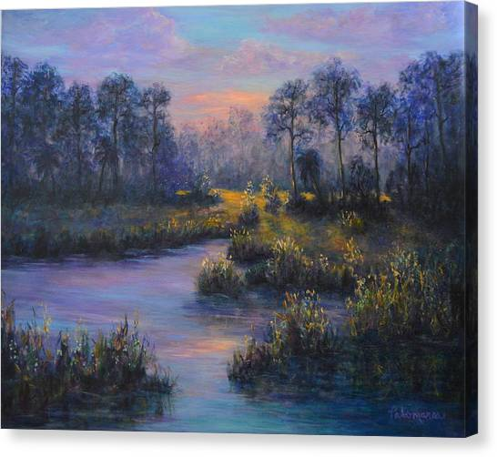 Marsh Sunset Nature Wetland Trees Print Of Panting Canvas Print