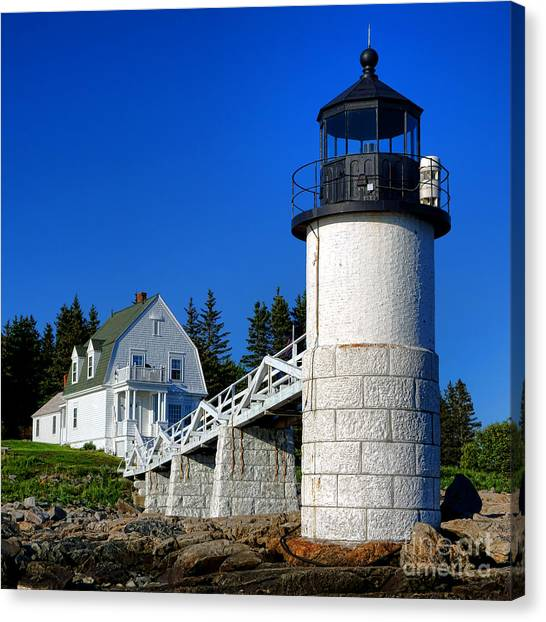Keeper Canvas Print - Marshall Point Light And Keeper House by Olivier Le Queinec