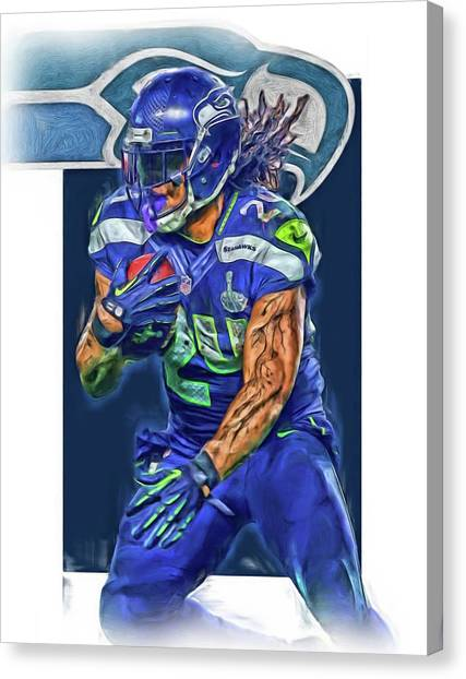 Seattle Seahawks Canvas Print - marshawn lynch SEATTLE SEAHAWKS OIL ART by Joe Hamilton