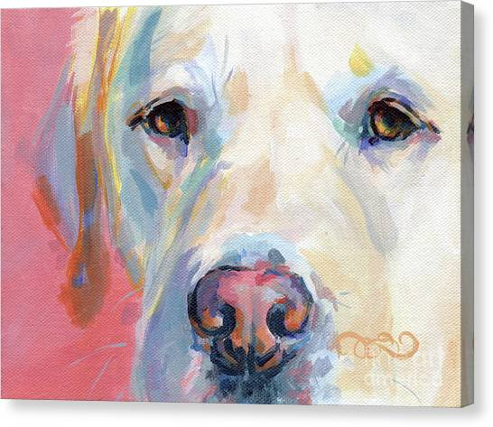 Yellow Lab Canvas Print - Martha's Pink Nose by Kimberly Santini