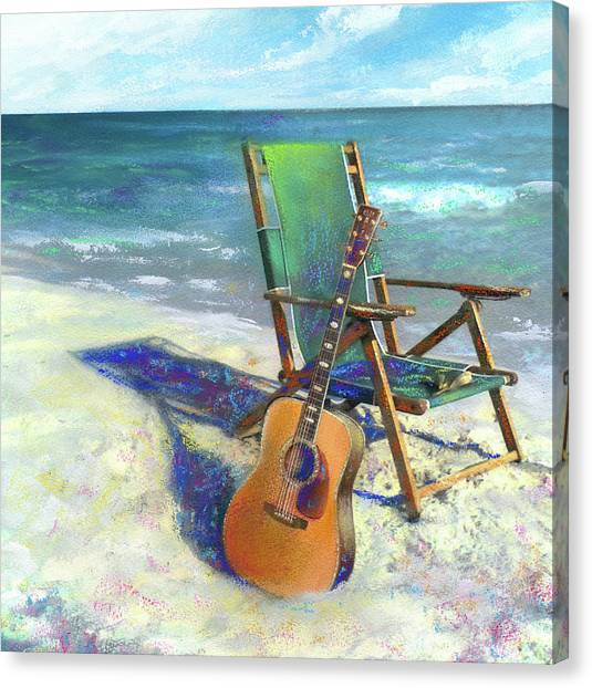 Guitars Canvas Print - Martin Goes To The Beach by Andrew King