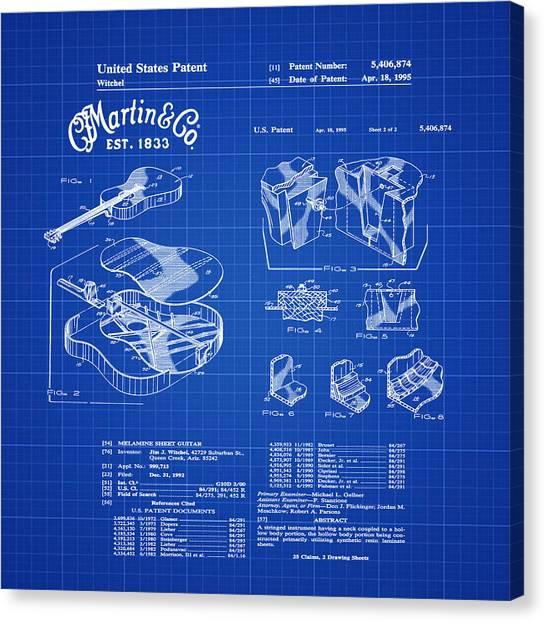 Slide Guitars Canvas Print - Martin Guitar Patent Dx1 1995 Blue Print by Bill Cannon