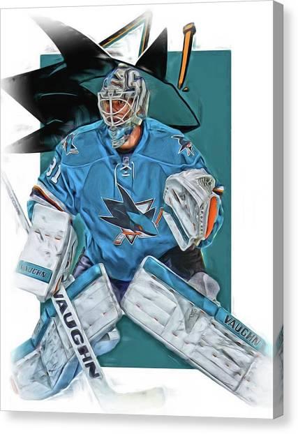 San Jose Sharks Canvas Print - Martin Jones San Jose Sharks Oil Art by Joe Hamilton
