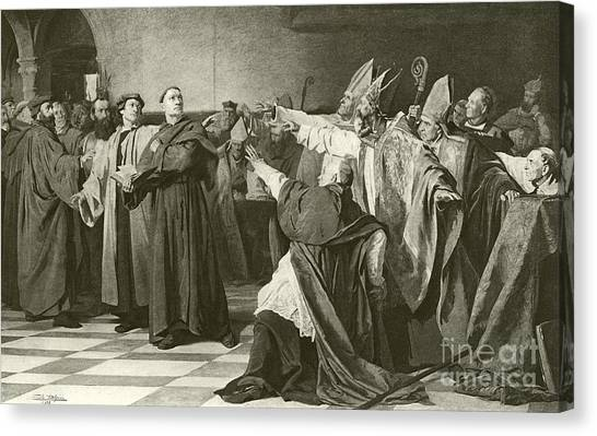 Tile Canvas Print - Martin Luther Before The Council Of Worms  by English School