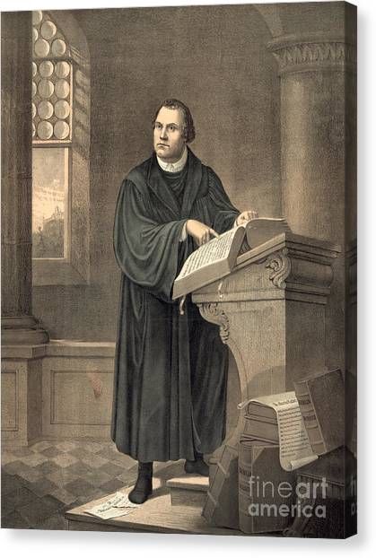 Pastor Canvas Print - Martin Luther In His Study by American School