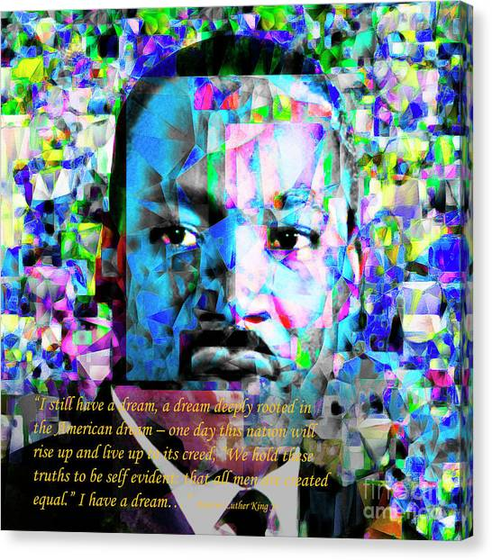 Martin Luther King Jr In Abstract Cubism 20170401 Text Canvas Print by Wingsdomain Art and Photography