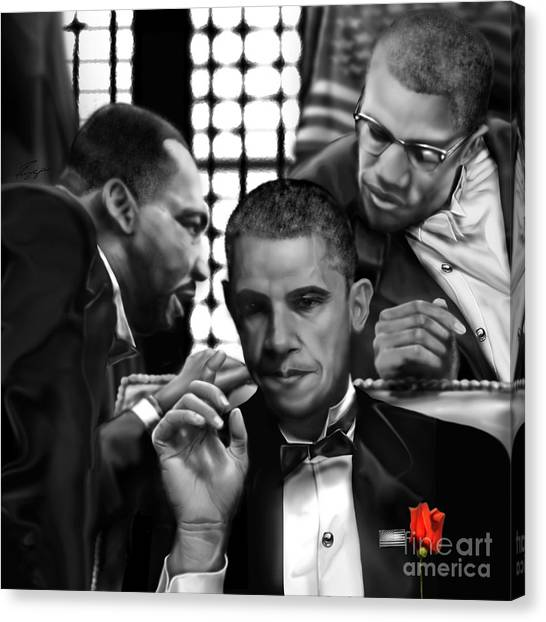 Barack Obama Canvas Print - Martin Malcolm Barack And The Red Rose by Reggie Duffie