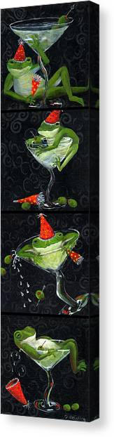 Martini Frogs Canvas Print by Debbie McCulley