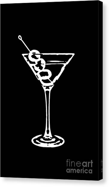 Martini Canvas Print - Martini Glass Tee White by Edward Fielding