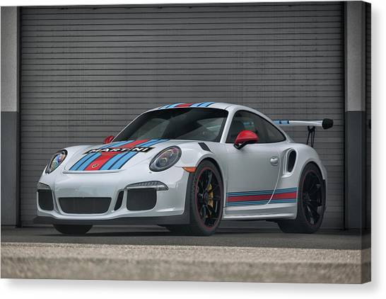 Canvas Print featuring the photograph #martini #porsche 911 #gt3rs #print by ItzKirb Photography