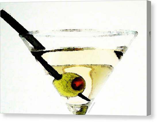 Martini Canvas Print - Martini With Green Olive by Sharon Cummings
