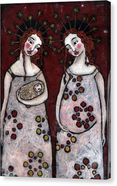 Mary And Elizabeth 2 Canvas Print by Julie-ann Bowden
