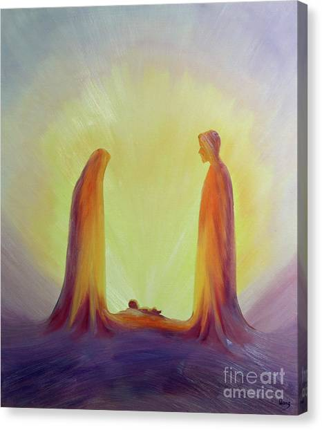 Care Bears Canvas Print - Mary And Joseph Look With Faith On The Child Jesus At His Nativity by Elizabeth Wang