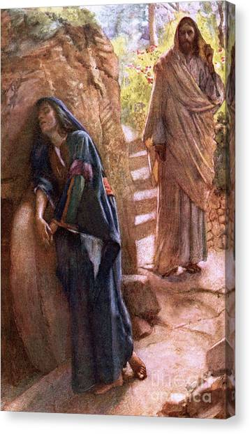 Apparition Canvas Print - Mary Magdalene At The Sepulchre by Harold Copping