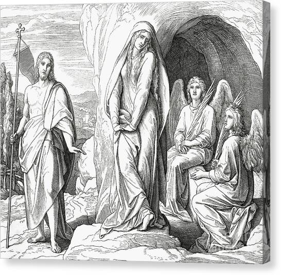 Resurrected Canvas Print - Mary Magdalene At The Tomb Of Jesus Christ by Julius Schnorr von Carolsfeld