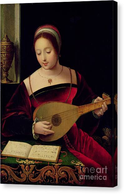 Religious Canvas Print - Mary Magdalene Playing The Lute by Master of the Female Half Lengths