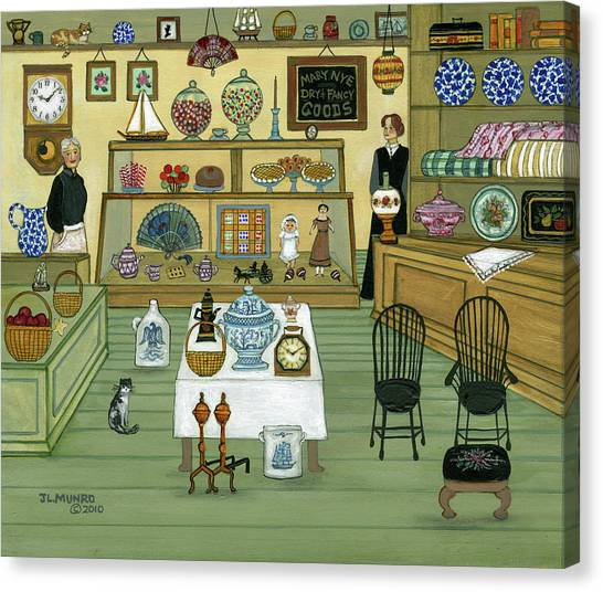 Andirons Canvas Print - Mary Nye's Shop by Janet Munro