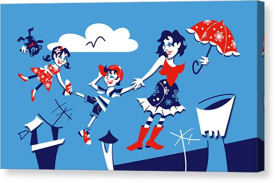 Arte Canvas Print - Mary Poppins - Children Book Illustration by Arte Venezia
