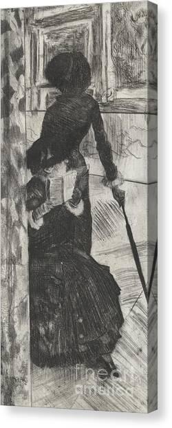 The Louvre Canvas Print - Mary Stevenson Cassatt by Edgar Degas