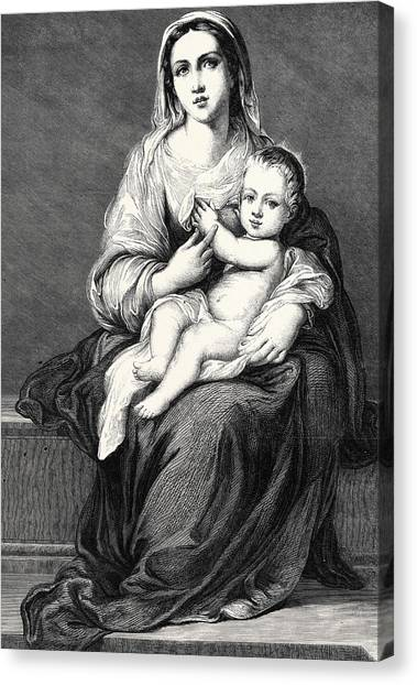 The Christ Ink Drawing Canvas Print - Mary With The Child Jesus by German School