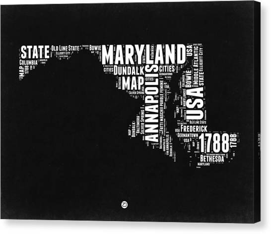 Maryland Canvas Print - Maryland Black And White Map by Naxart Studio