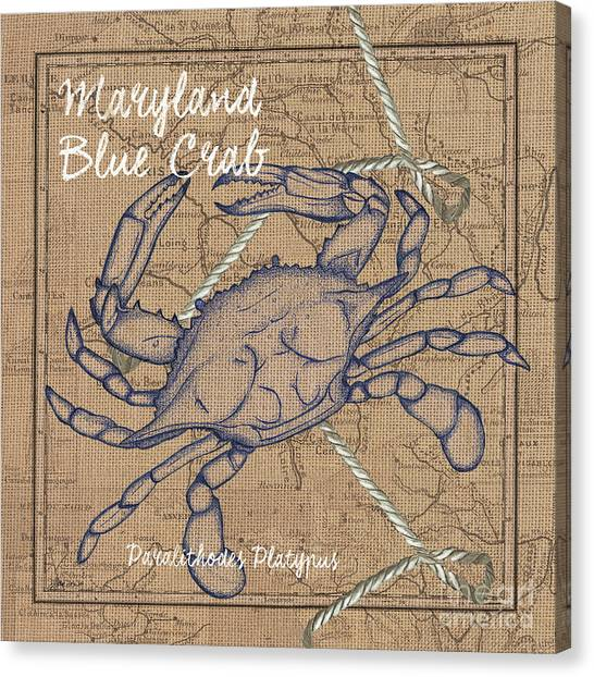 Rope Canvas Print - Maryland Blue Crab by Debbie DeWitt