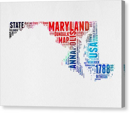 Maryland Canvas Print - Maryland Watercolor Word Cloud  by Naxart Studio