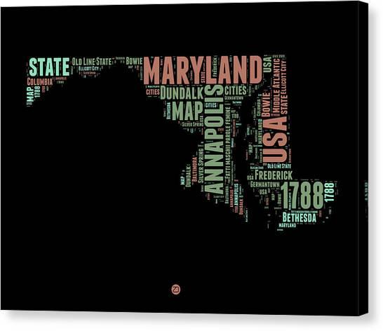 Maryland Canvas Print - Maryland Word Cloud 1 by Naxart Studio