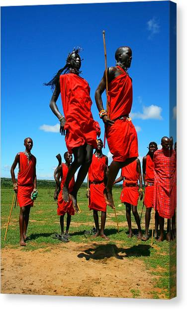 Masai Warrior Dancing Traditional Dance Canvas Print