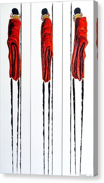 Masai Warrior Triptych - Original Artwork Canvas Print