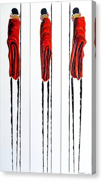 Masai Warrior Triptych - Original Artwork Canvas Print