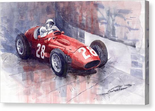 Sports Cars Canvas Print - Maserati 250 F Gp Monaco 1956 Stirling Moss by Yuriy Shevchuk
