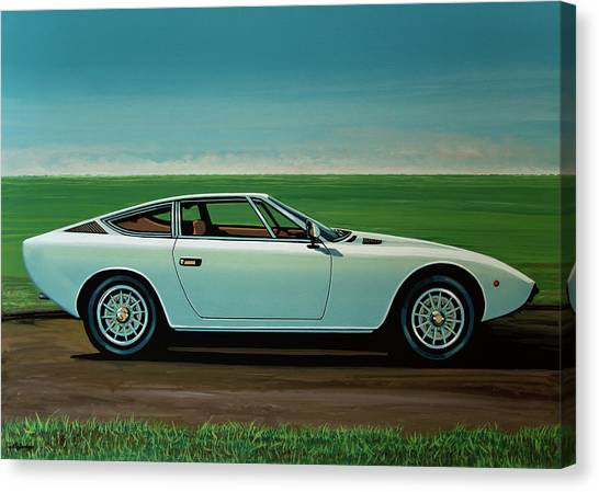 Race Cars Canvas Print - Maserati Khamsin 1974 Painting by Paul Meijering